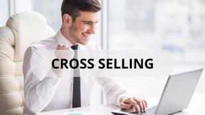 Empresário comemorando vendas. Cross selling. Vendas na internet.